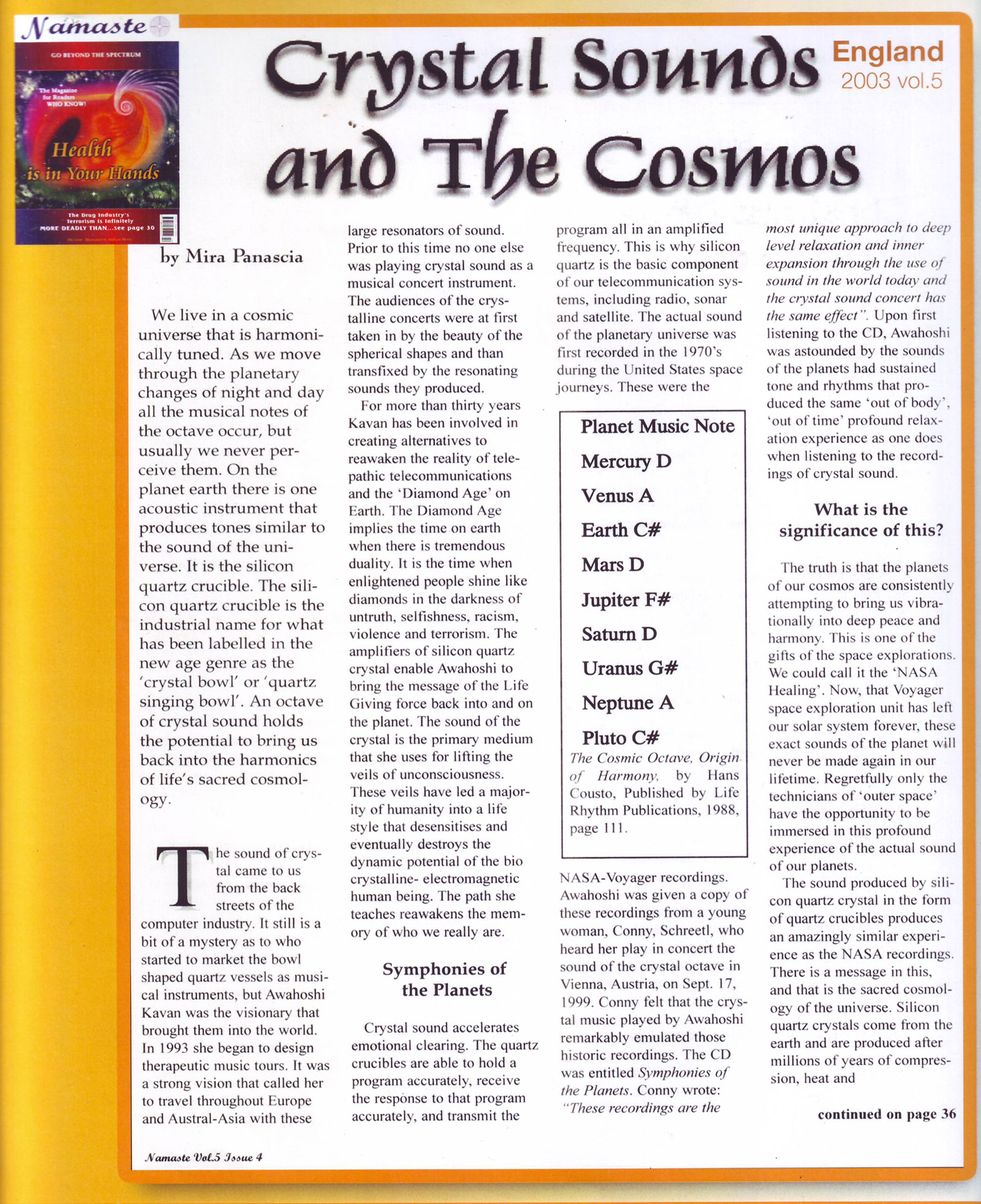 Crystal Sound and The Cosmos article - Crystal Sound Institute by AwaHoshi Kavan